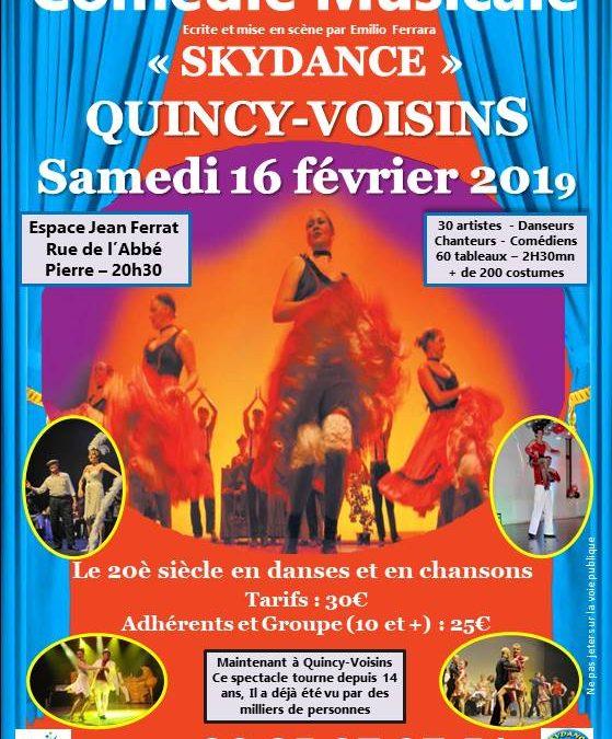Comédie musicale «Skydance» à Quicy-Voisins 77860 le samedi 16 février 2019